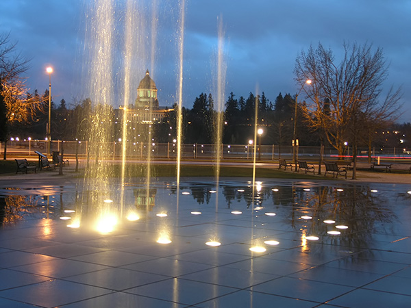 Olympia Capitol Night Fountains